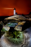 Annisquam Lighthouse at Night, Light Painted